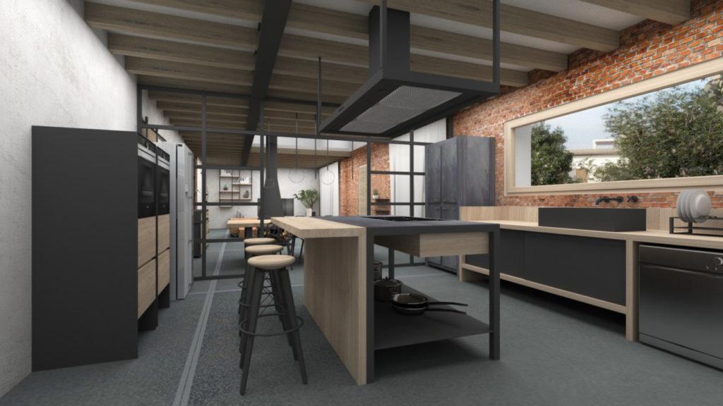 Rendering-interno-casa-cucina-industrial-design-iStyle