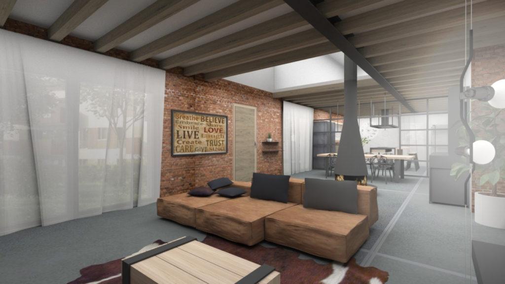 Rendering-interno-casa-industrial-design-soggiorno-iStyle